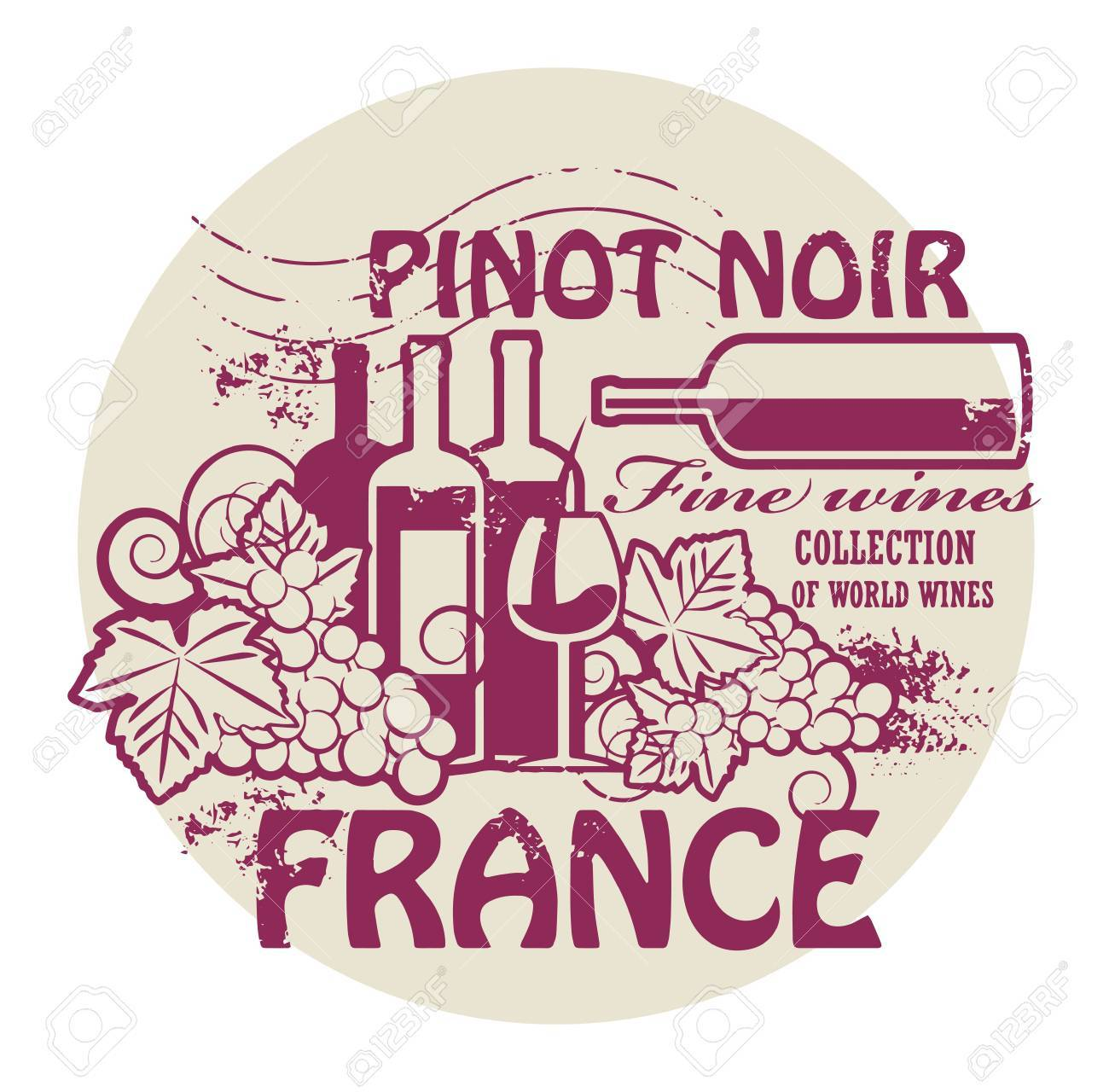 Stamp with words France, Fine Wines, Pinot Noir Stock Vector - 21635834