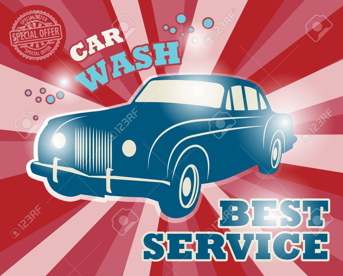 Retro car wash sign Stock Vector - 21767575