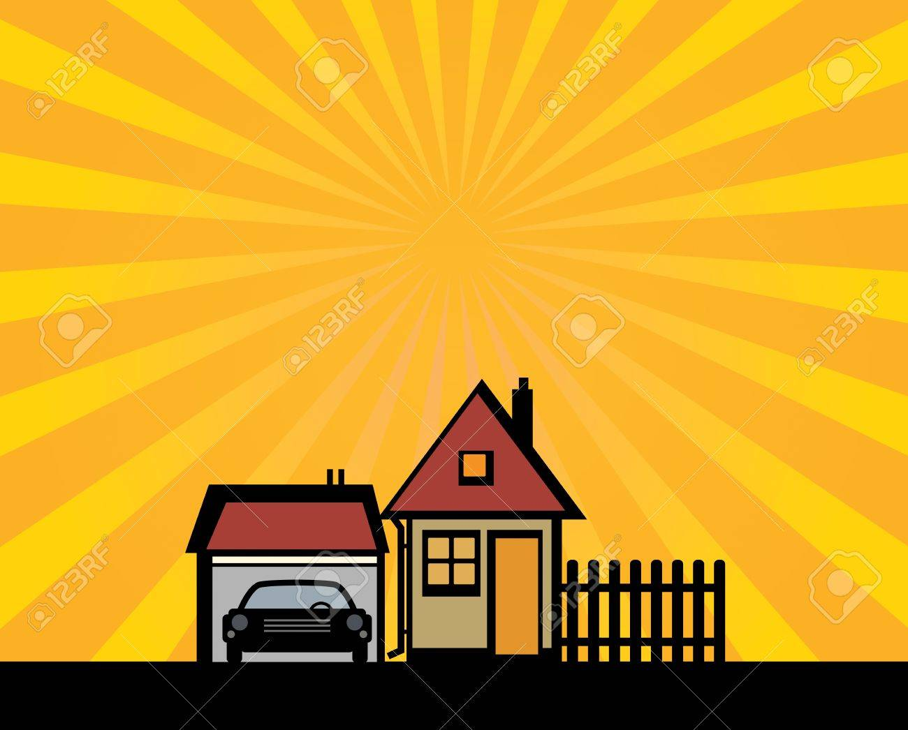 Houses and garage silhouette on abstract background Stock Vector - 22150850