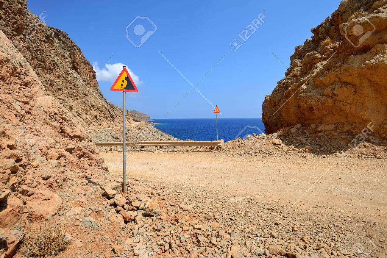 Gravel dangerous road on island of Crete in Greece