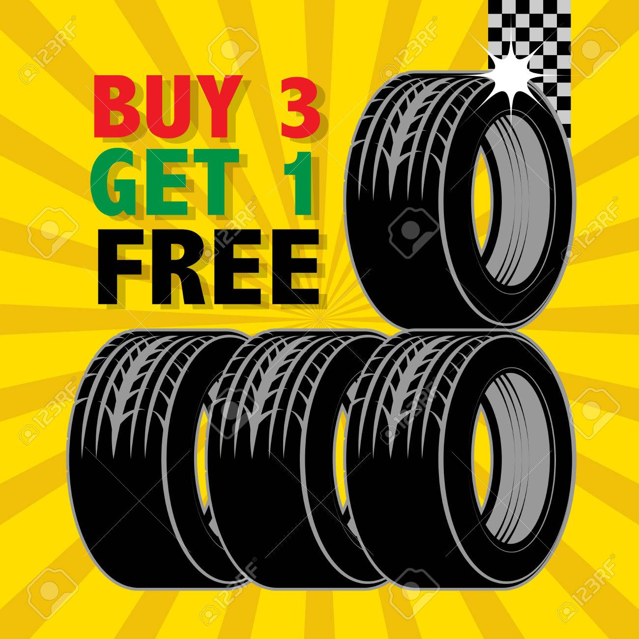 Abstract Label With Tires And The Text Buy 3 Get 1 Free Written
