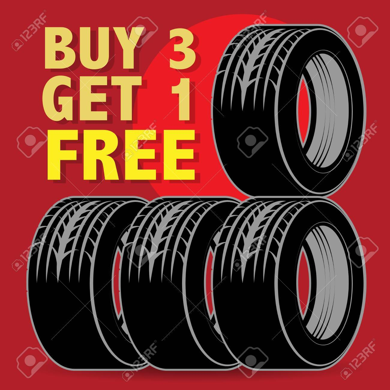 Buy 3 Get 1 Free Tires >> Abstract Label With Tires And The Text Buy 3 Get 1 Free Written