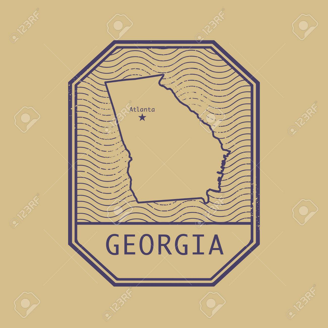 Map Of Georgia United States.Stamp With The Name And Map Of Georgia United States Vector