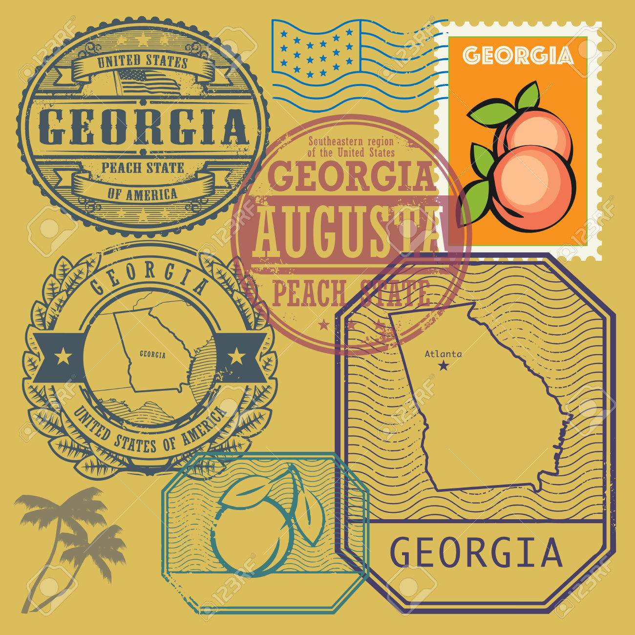 Map Of Georgia United States.Stamp Set With The Name And Map Of Georgia United States Vector