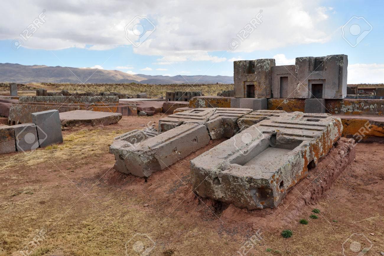 Ruinen Von Pumapunku Oder Puma Punku Teil Eines Großen
