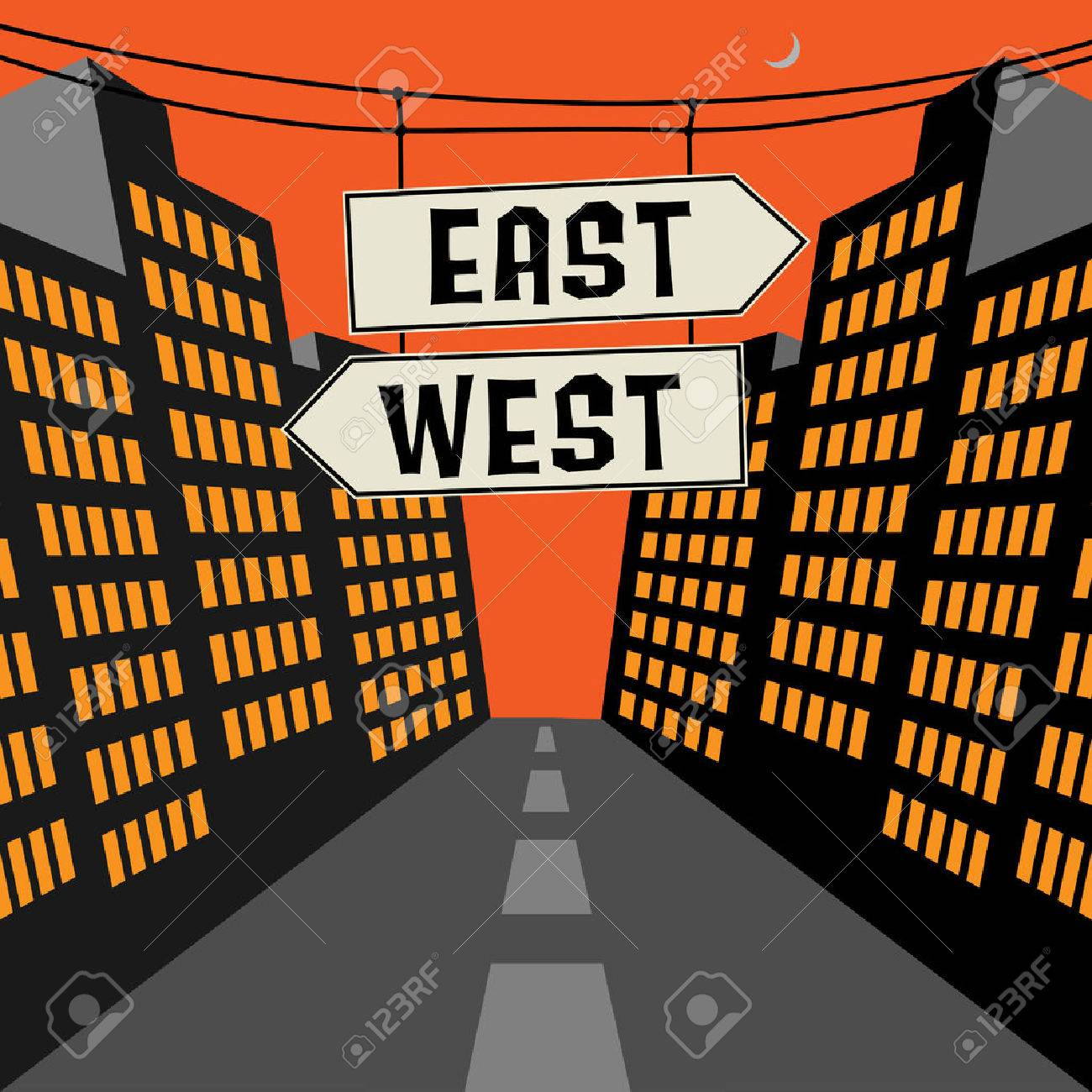 Road sign with opposite arrows and text East - West, vector illustration - 68787892