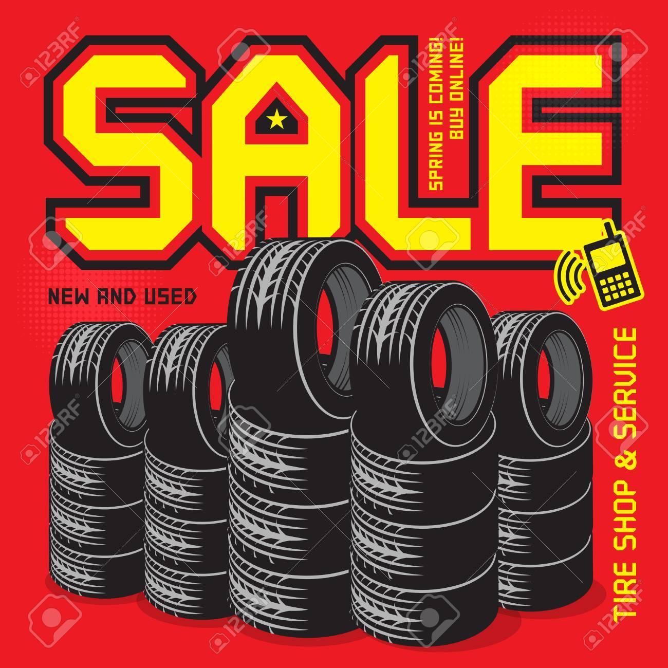 Archivio Fotografico - Vendita di pneumatici vintage o poster di garage con  vendita di testo 45661966794