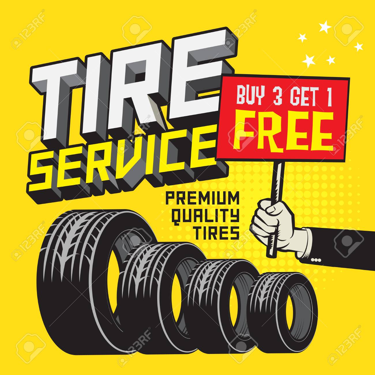 Buy 3 Get 1 Free Tires >> Vintage Tire Service Or Garage Poster With Text Tire Service