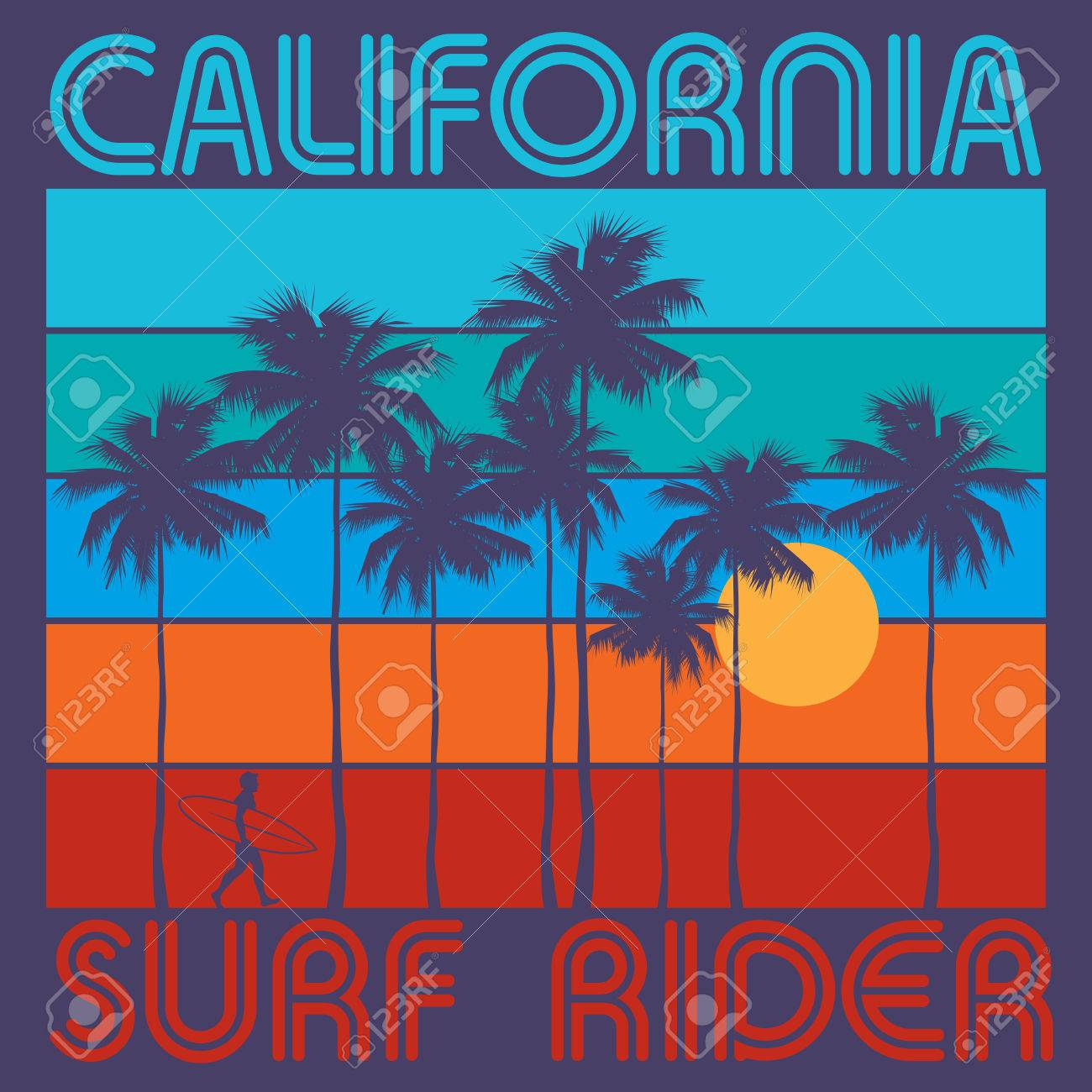 7ae1489c Theme of surfing with text California, Surf Rider. Typography, t-shirt  graphics