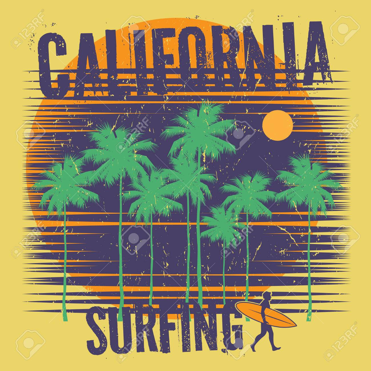2613abcc Theme of surfing with text California, Surfing. Typography, t-shirt  graphics,