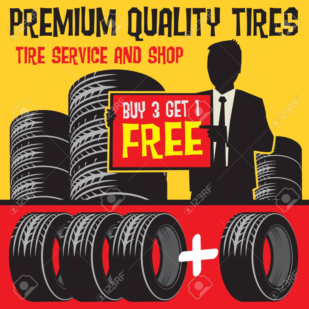Buy 3 Get 1 Free Tires >> Vintage Tire Service Or Garage Poster With Text Tire Shop And