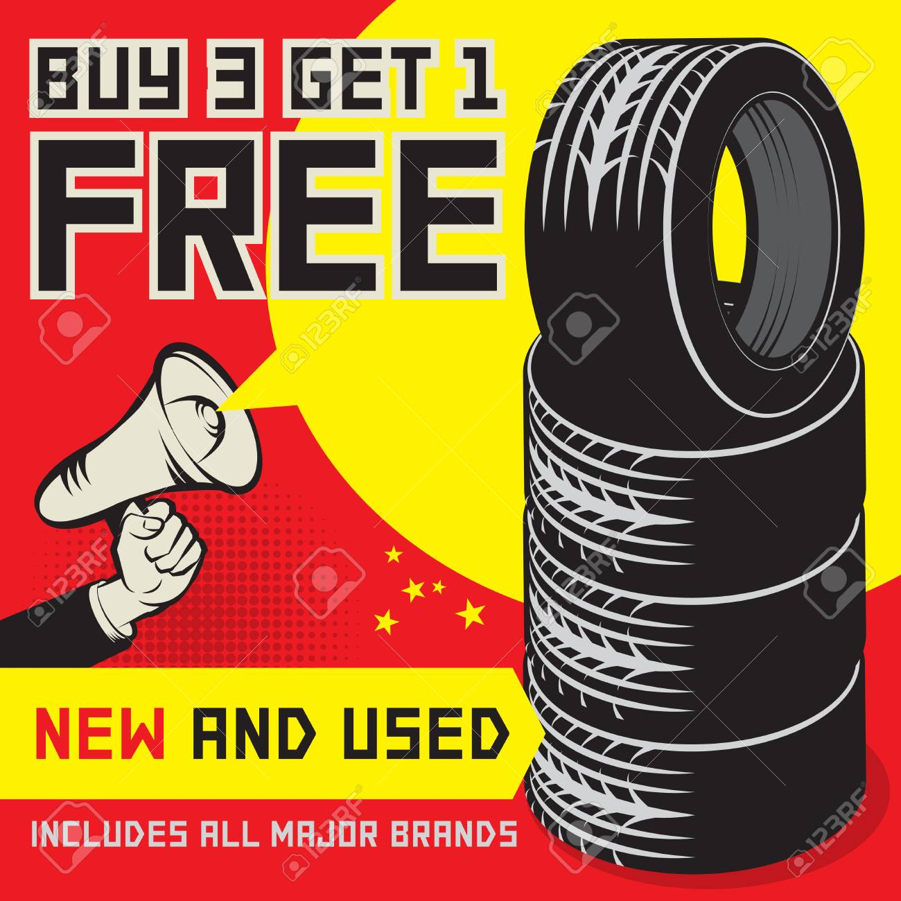 Buy 3 Get 1 Free Tires >> Vintage Tire Service Or Garage Poster With Text Buy 3 Get 1 Free