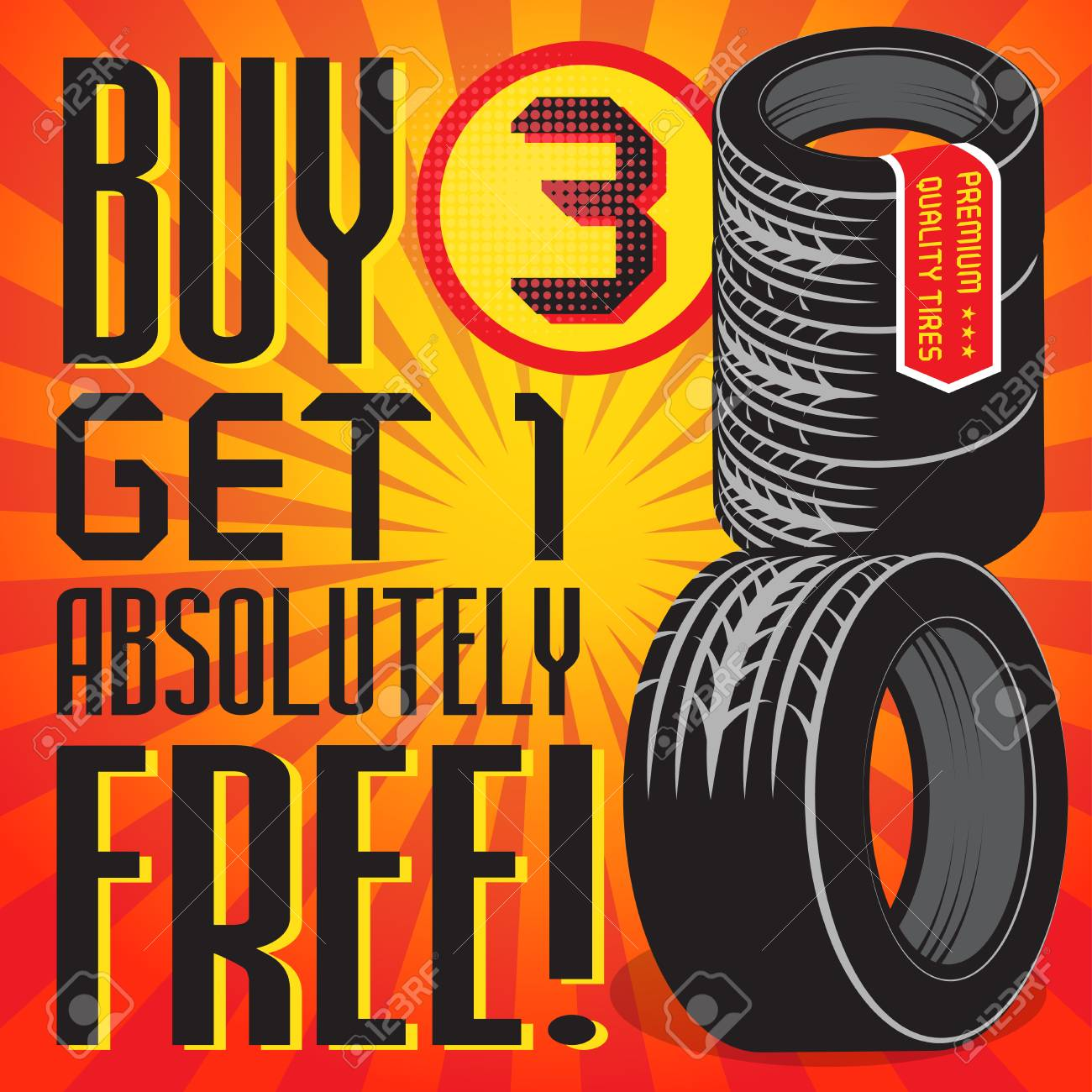 Vintage Tire Service Or Garage Poster With Text Buy 3 Get 1 Free