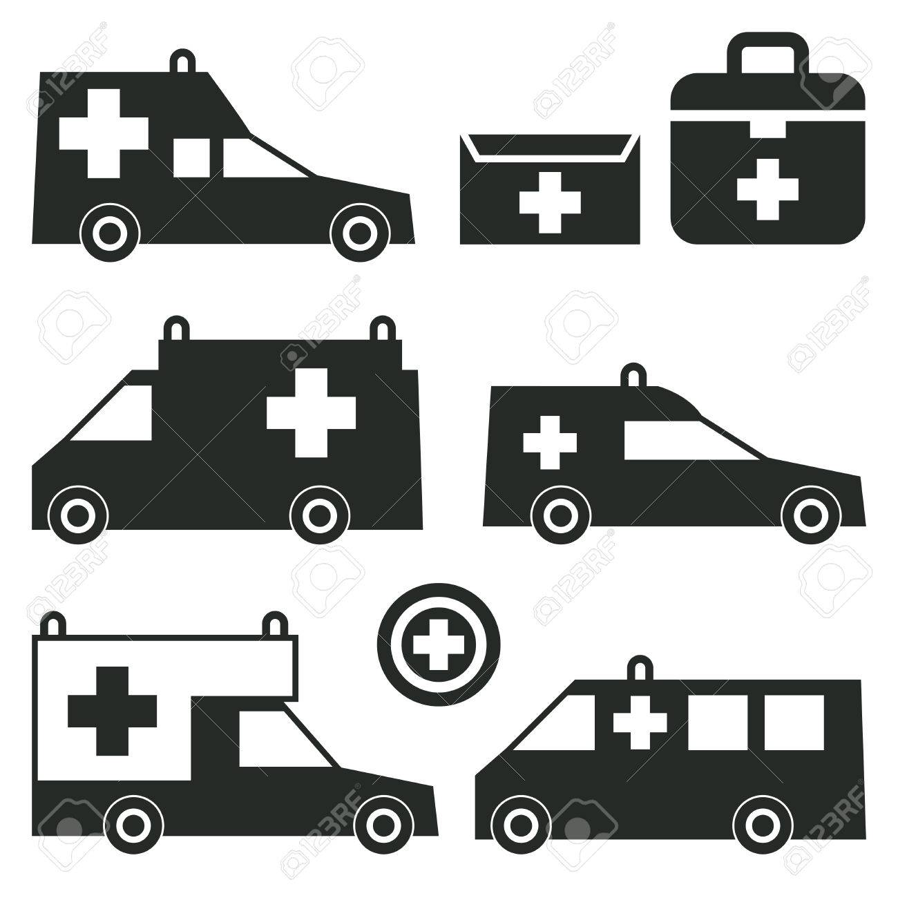 Ambulance or emergency cars signs or symbols isolated on white background set ambulance car silhouettes