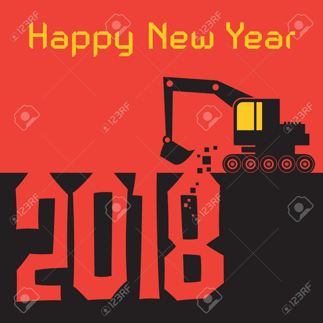 Happy new year greeting card with excavator digger at work vector happy new year greeting card with excavator digger at work vector illustration stock vector 84001901 m4hsunfo