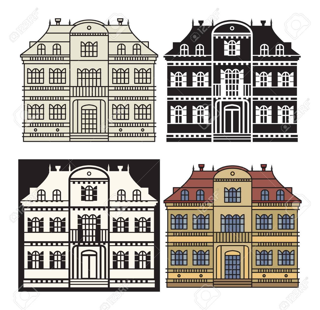 Wohnung Wohnhaus Und Detaillierte Haus Außen. Haussymbol. Haus ...