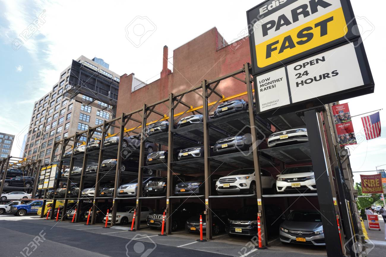 NEW YORK CITY, USA - AUG  23 : Automated car parking system service