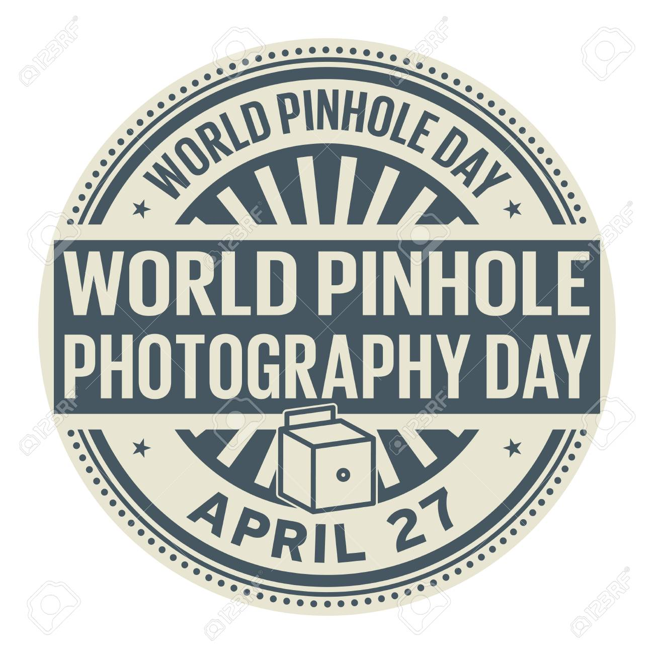 World Pinhole Photography Day April 27 Rubber Stamp Vector Illustration Stock