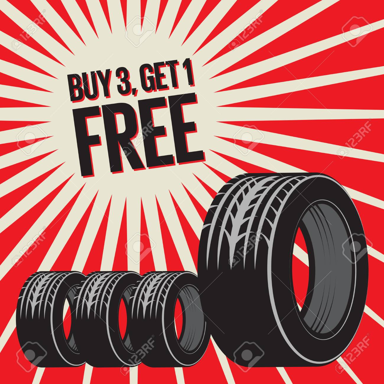 Bang Burst Tires Business Concept With Text Buy 3 Get 1 Free