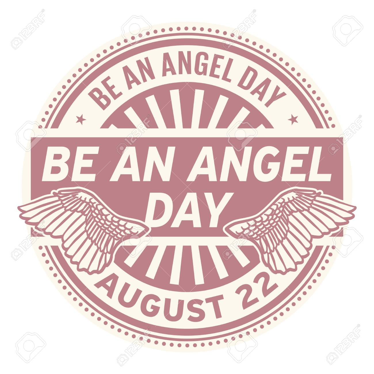 Be An Angel Day August 22 Rubber Stamp Vector Illustration Stock