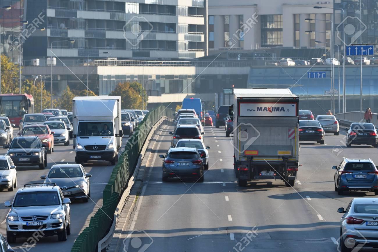 Vilnius, Lithuania, October 12: traffic, cars on highway road