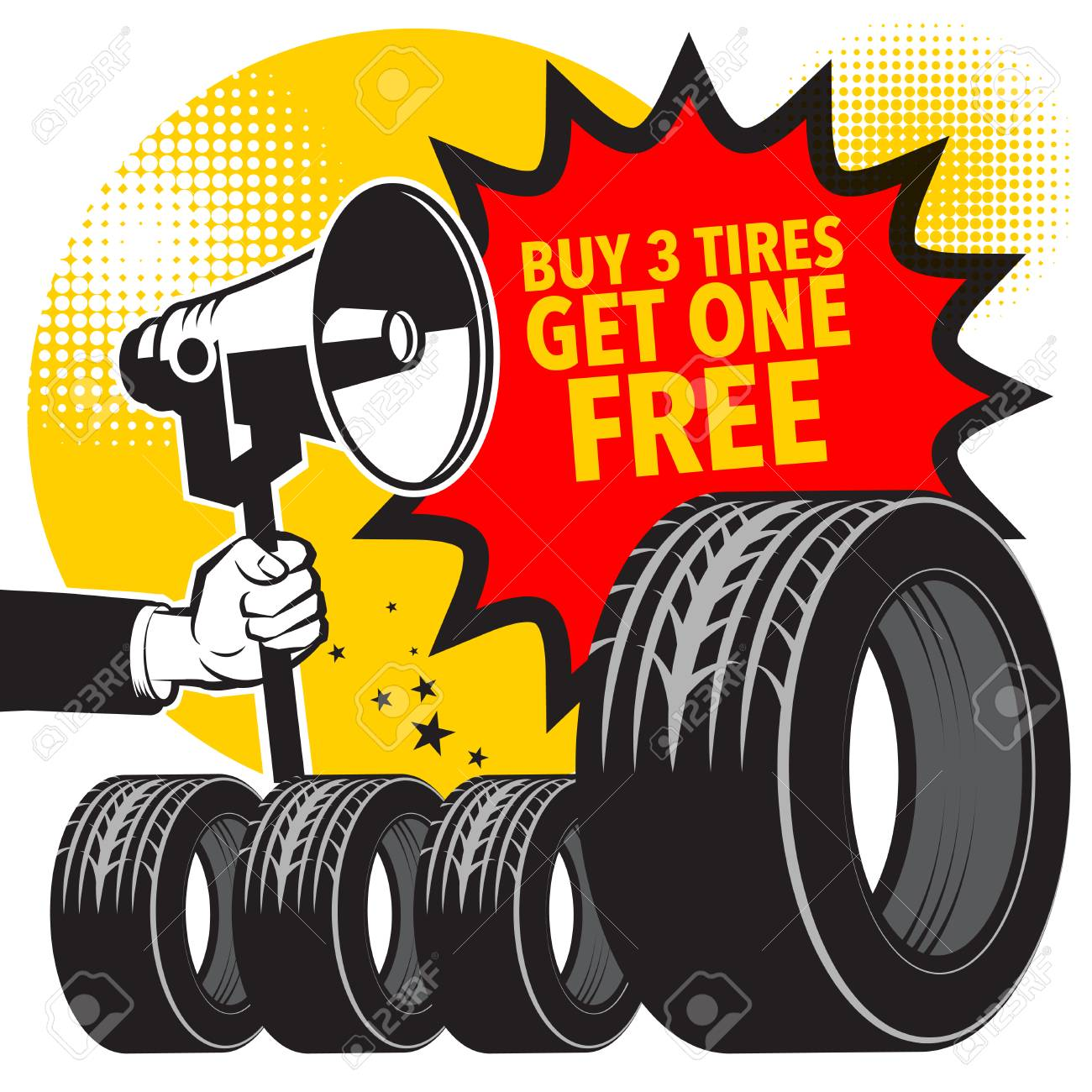 Buy 3 Get 1 Free Tires >> Tire Service Or Garage Poster With Text Buy 3 Get 1 Free New