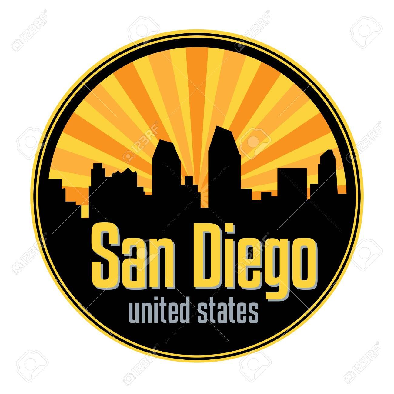 Badge, label or stamp with San Diego skyline, vector illustration - 139019746