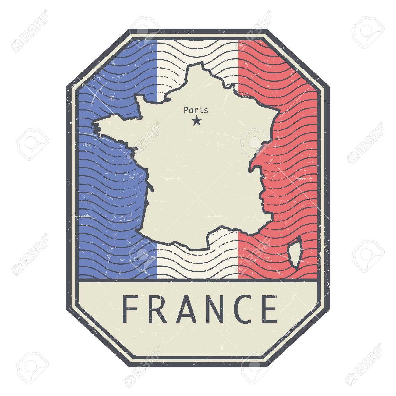 Grunge rubber stamp with the name and map of France, vector illustration - 154260821