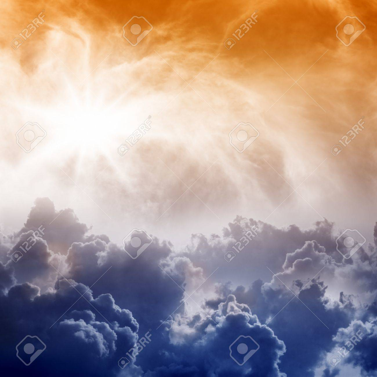 Dramatic Impressive View From Heaven With Bright Sun And Clouds ...