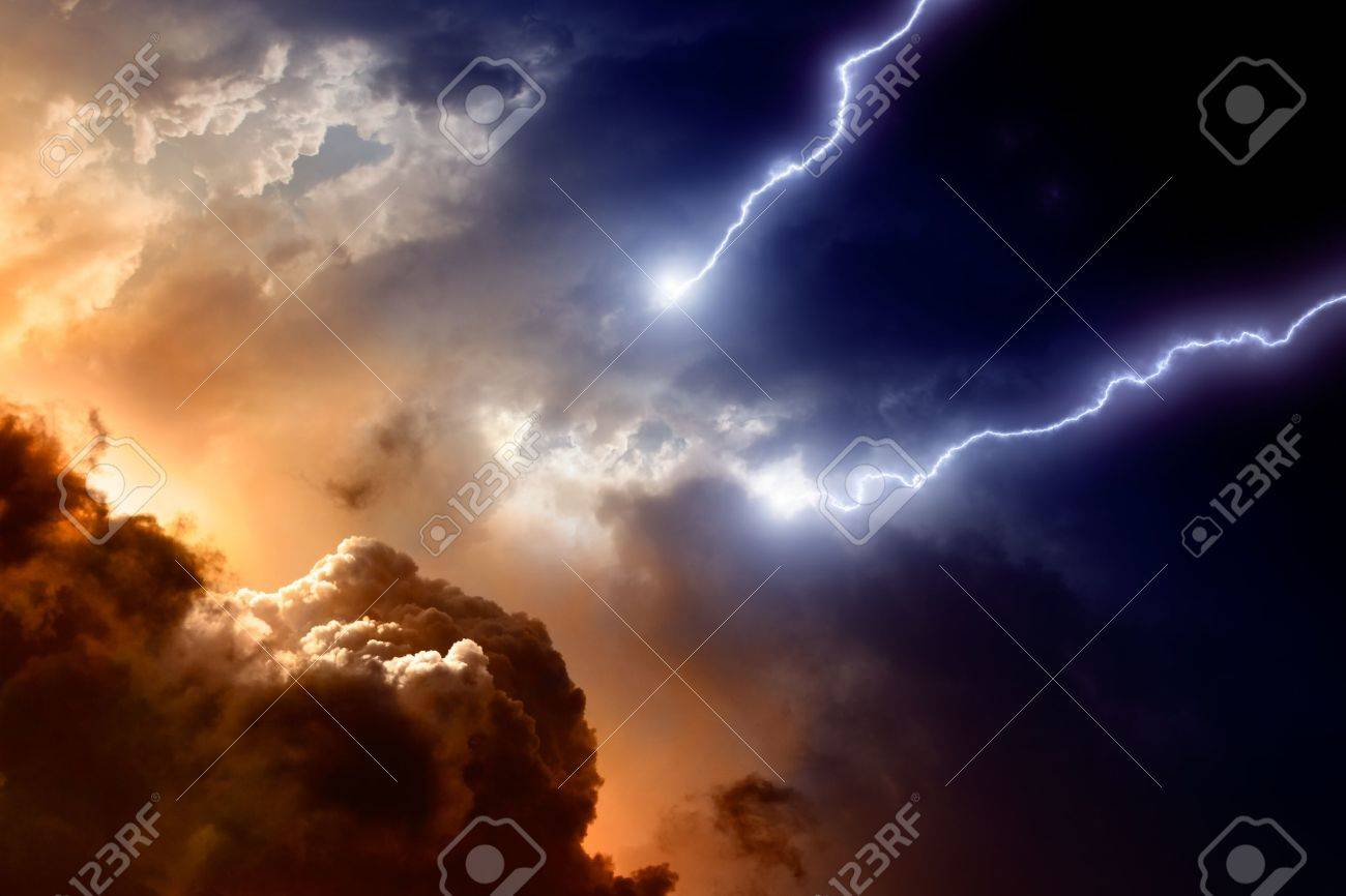 Dramatic background - dark sky and clouds with two lightnings, hell, armageddon Stock Photo - 10281574