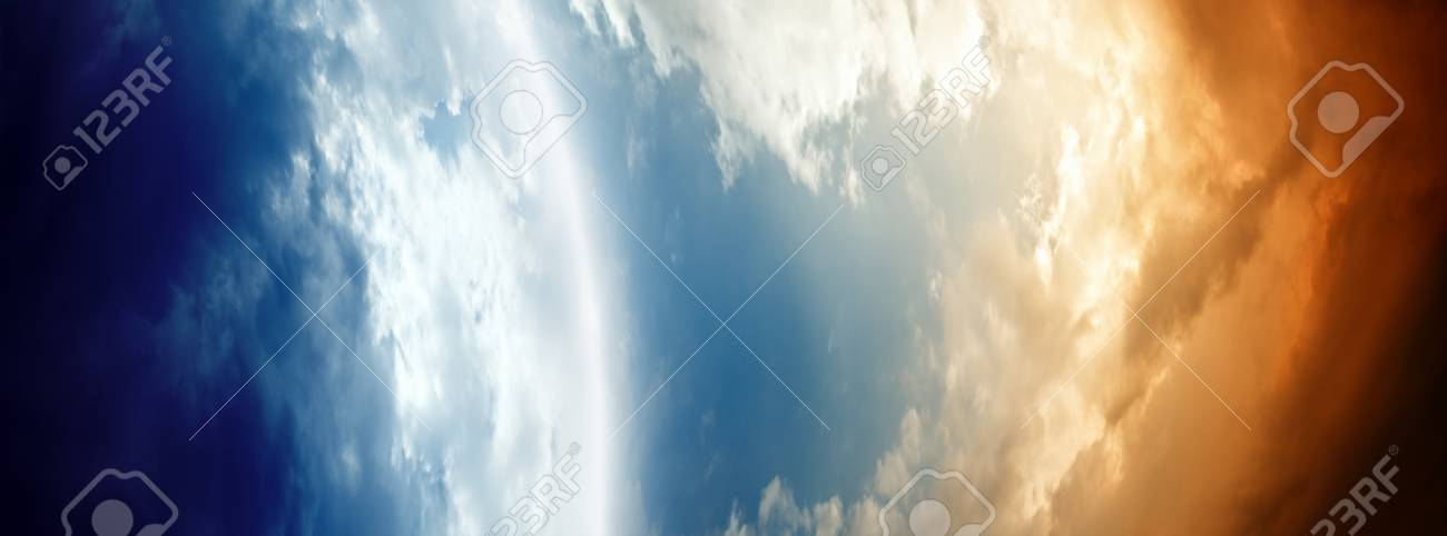 Abstract planet in space, blue and red clouds Stock Photo - 11840152