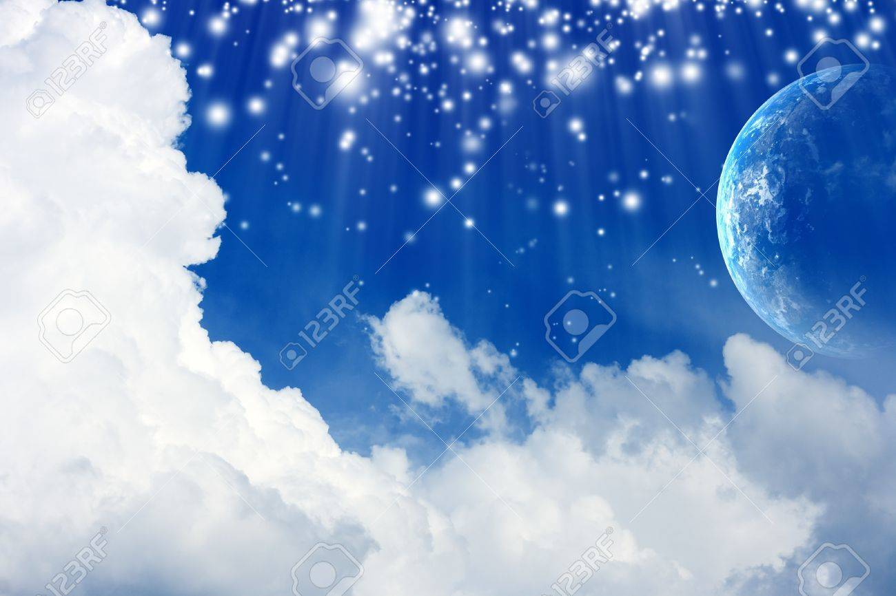 Peaceful background - planet Earth in blue sky with white clouds Stock Photo - 11840140