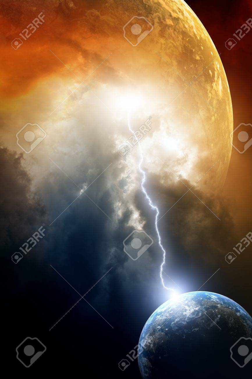 Big red planet attacks small planet earth Stock Photo - 13424448