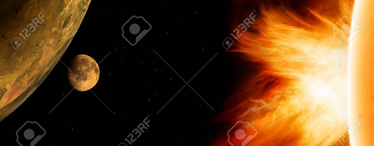 Scientific background - glowing planet Earth and Moon in black space. Sun activity. Elements of this image furnished by NASA Stock Photo - 14358815