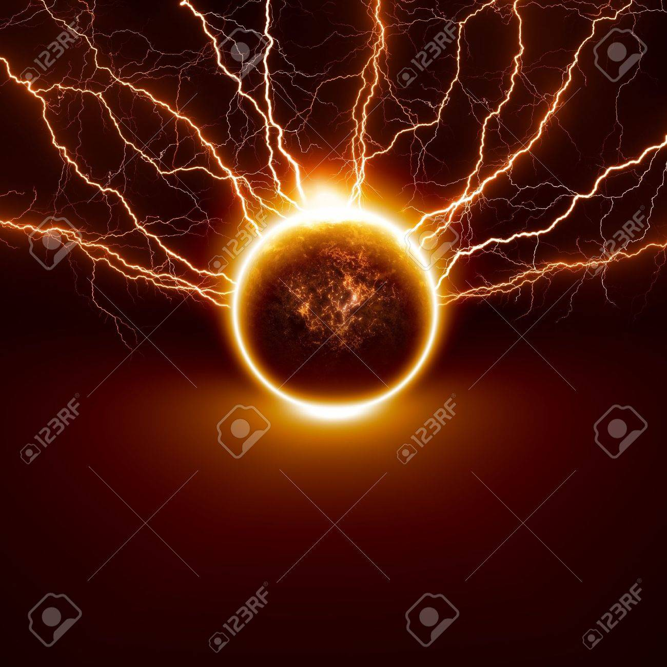 Scientific background - planet Earth in danger, struck by big lightnings Elements of this image furnished by NASA - 14887104