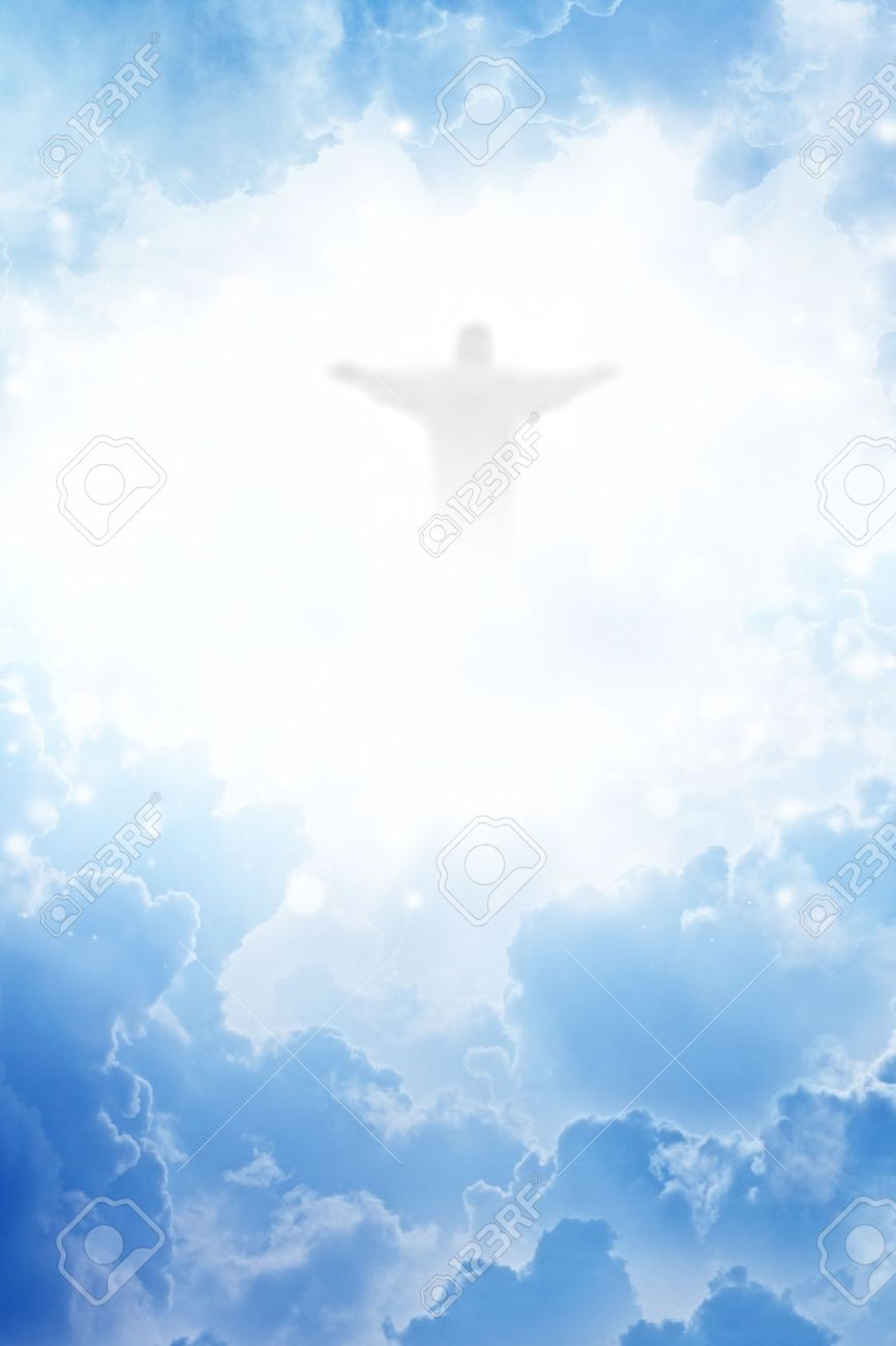 Jesus Christ In Blue Sky With Clouds - Heaven Stock Photo, Picture And  Royalty Free Image. Image 14887113.