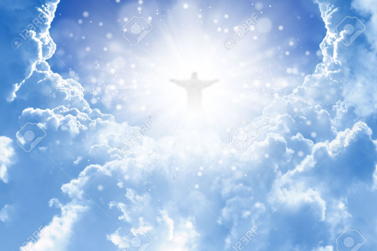 jesus christ in blue sky with clouds heaven stock photo picture