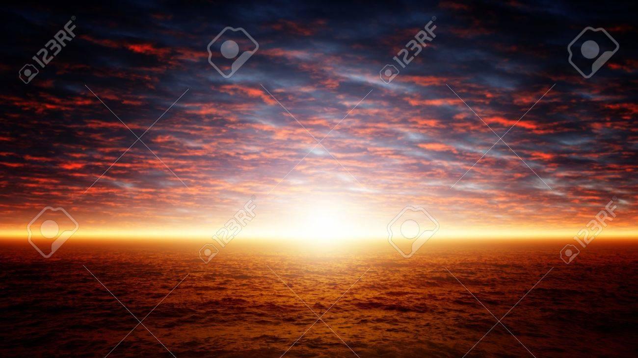 Beautiful nature background - red sunset over dark sea Stock Photo - 17360253