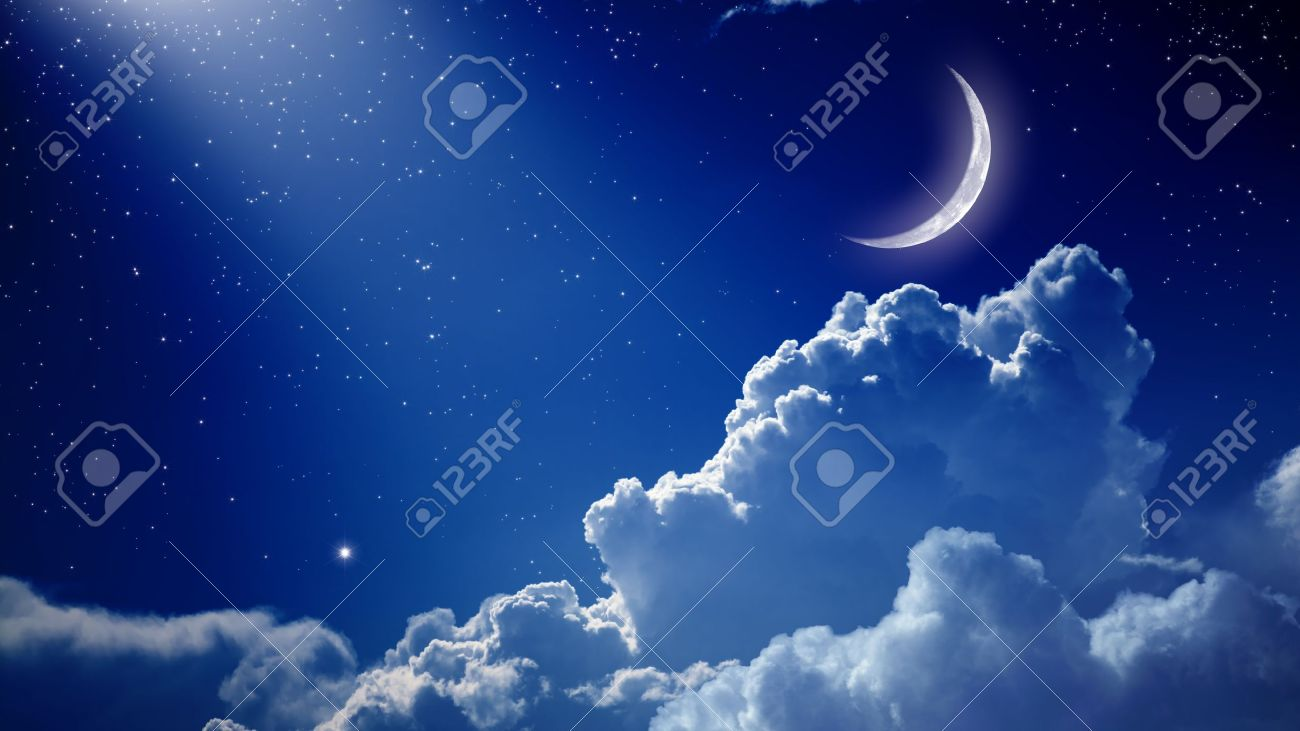Peaceful Background Blue Night Sky With Moon Stars Beautiful Clouds And Bright Spotlight
