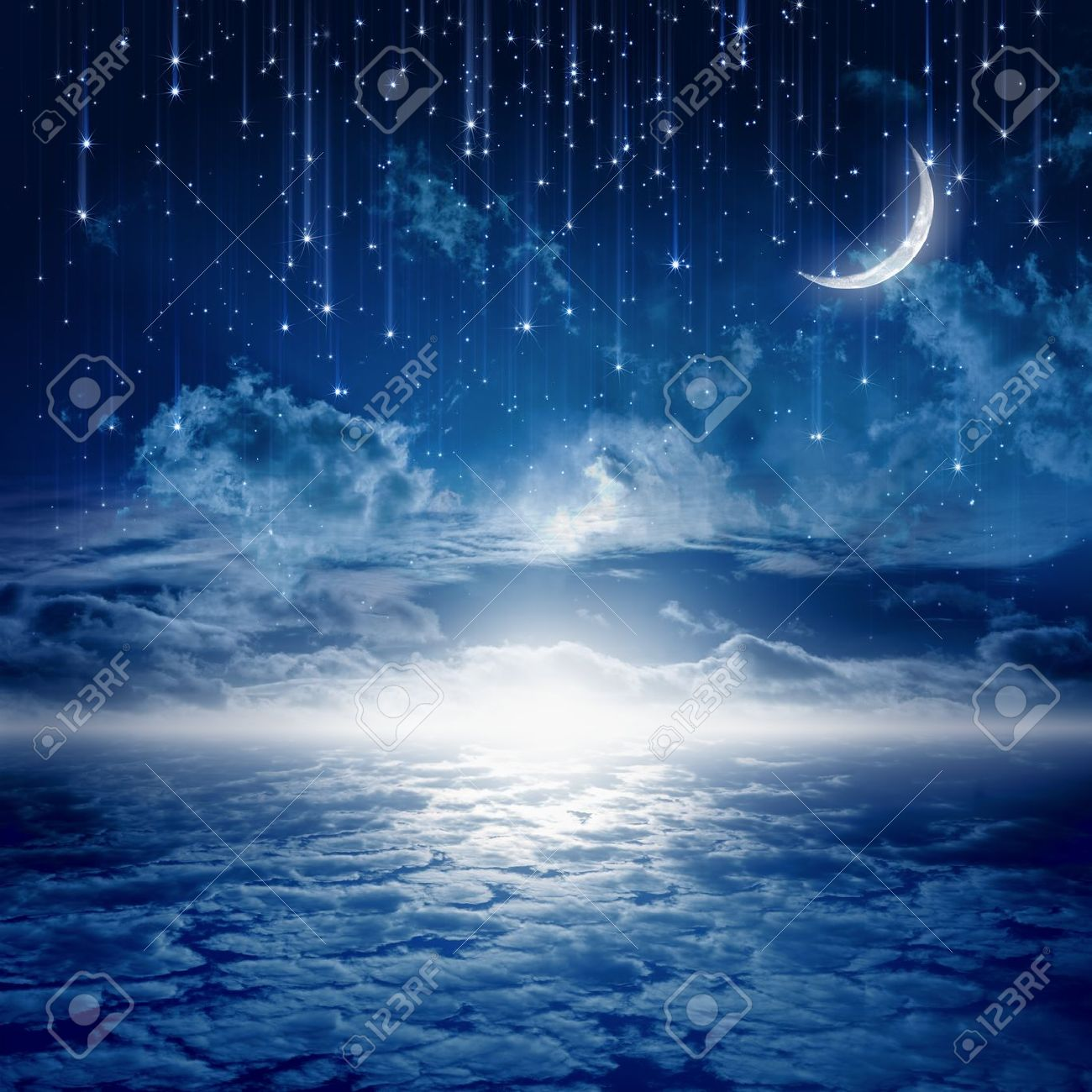 Peaceful background, blue night sky with moon, stars, beautiful clouds, glowing horizon. Elements of this image furnished by NASA - 17842450