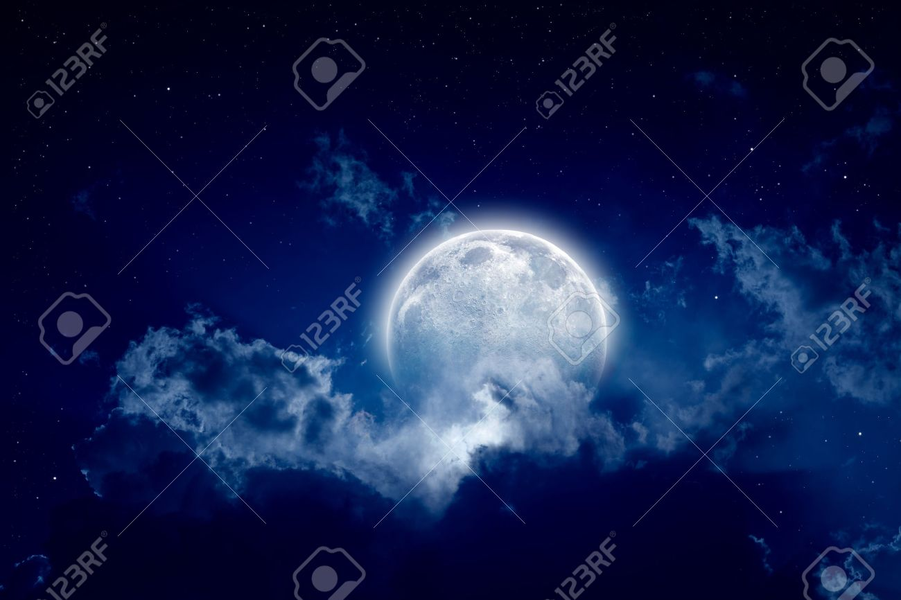 Peaceful Background Night Sky With Full Moon Stars Beautiful Clouds Elements Of This