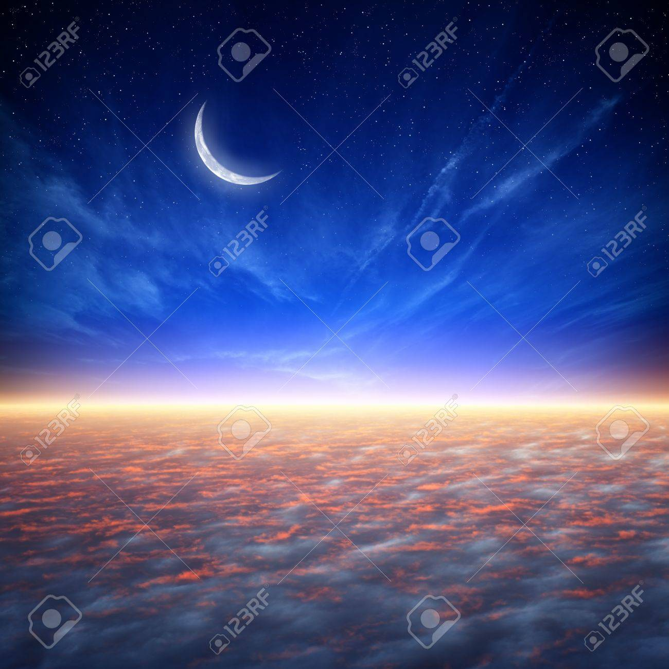 Peaceful background beautiful sunset blue sky with moon and peaceful background beautiful sunset blue sky with moon and stars glowing horizon voltagebd Images