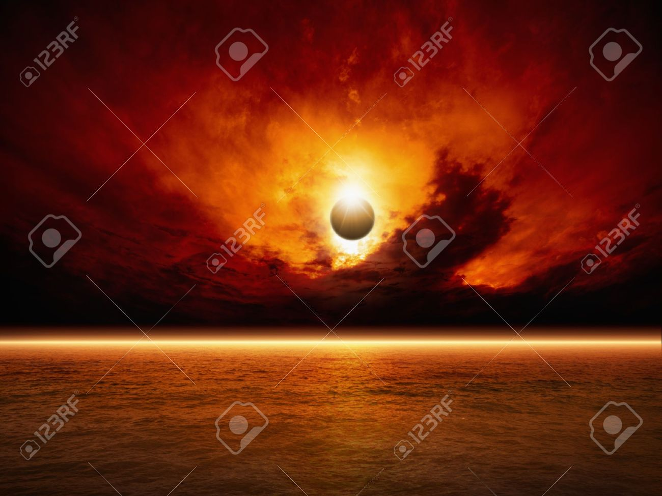 Dramatic apocalyptic background - sun eclipse, red sunset, dark sky, red sea, glowing horizon - 20334532