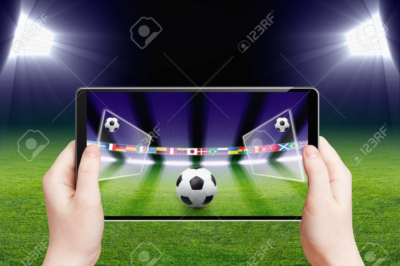 Fondo De Tecnologia Abstracta Tablet Pc Ordenador En Las Manos