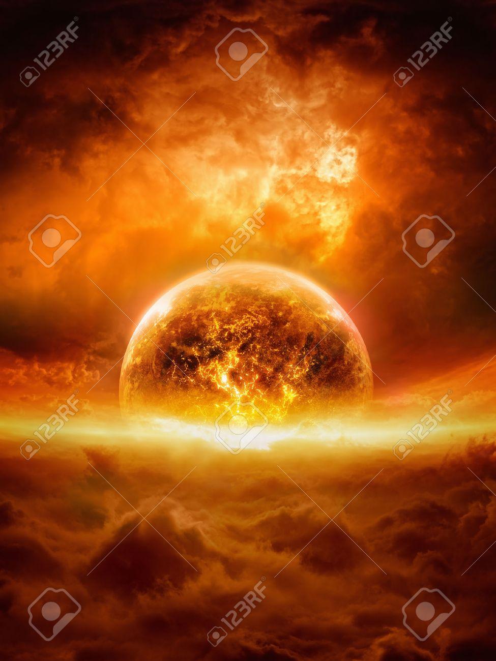 Inferno Em Chamas Beautiful fundo apocalíptico abstract - queimando e explodindo o planeta