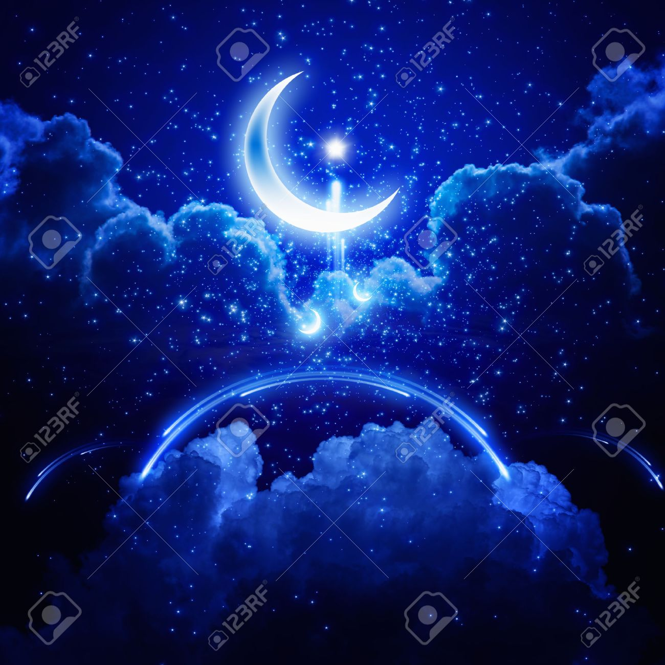Ramadan background - shining moon and stars, holy month, abstract