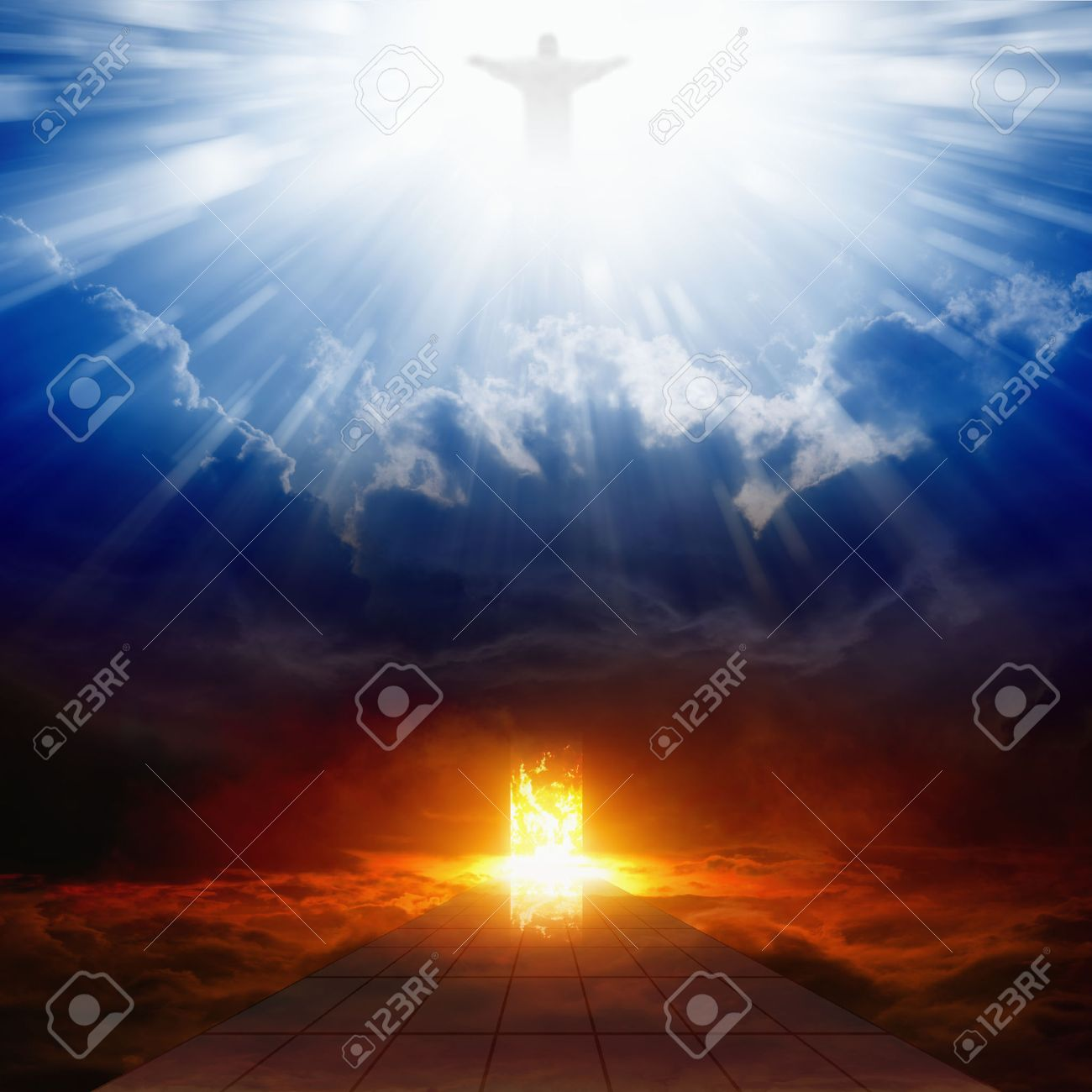 Jesus Christ In Blue Sky With Clouds Bright Light From Heaven Burning Doorway