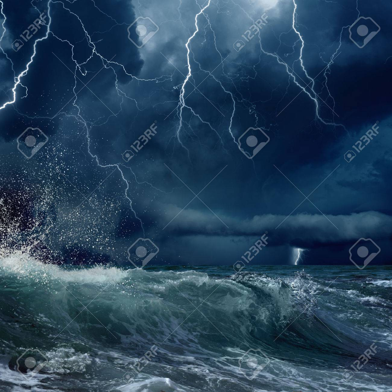 stormy sea, dark clouds with bright lightnings - 35885863
