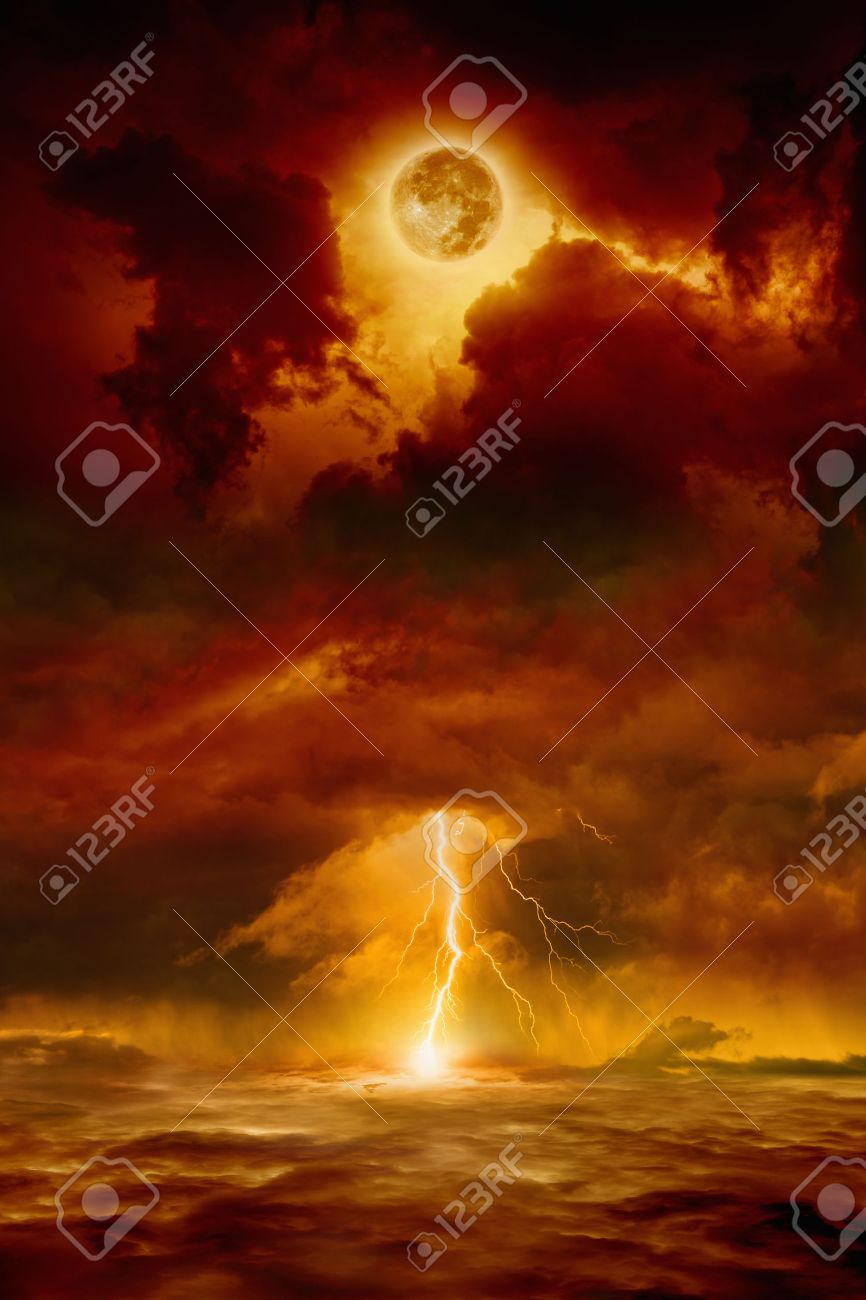Dramatic apocalyptic background - dark red sky with full moon and lightning, end of world, judgment day. - 43264318