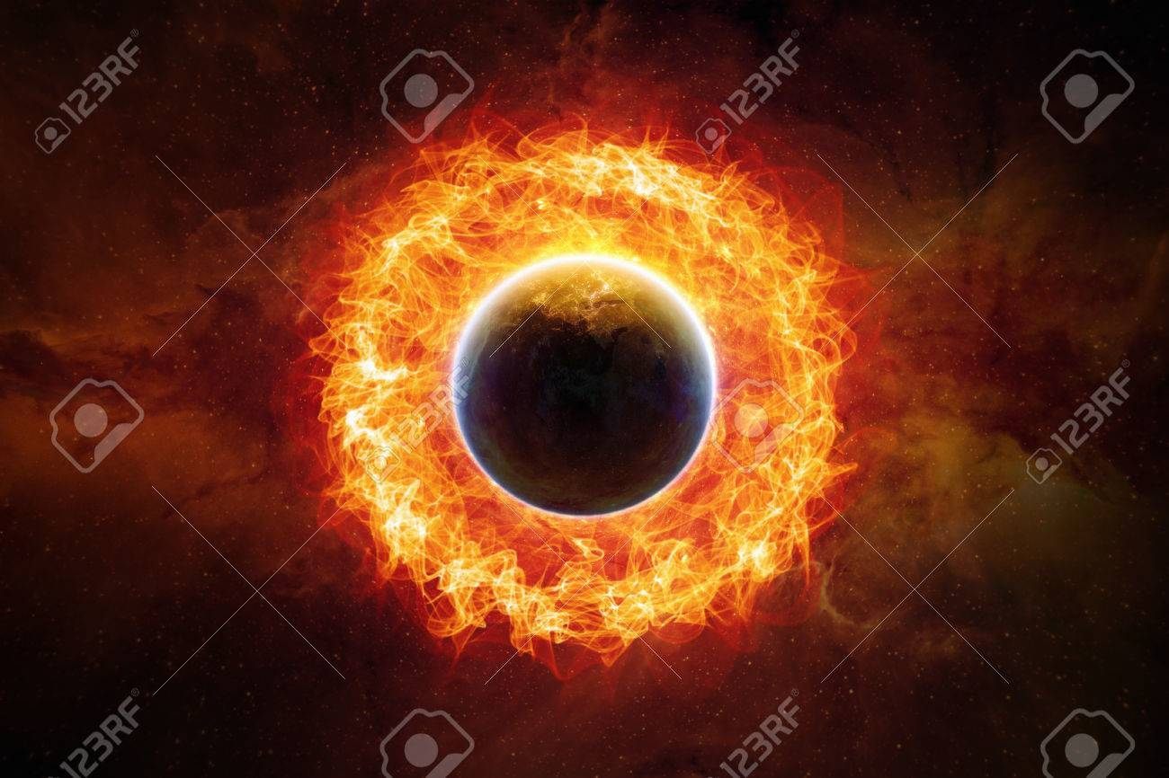 Inferno Em Chamas Cool dramatic scietific background - burning and exploding planet
